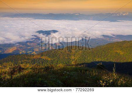 Misty Morning Sunrise At Doi Inthanon National Park, Thailand.