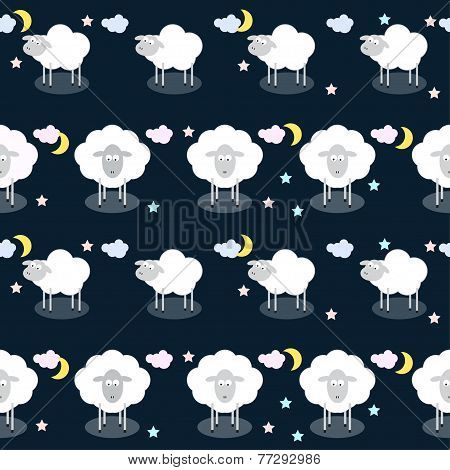 Funny Vector Pattern Background With Clouds, Stars And Cute Sheep In Open Space