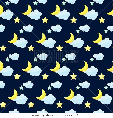 Vector Pattern Background With Bright Colored Cartoon Moon, Clouds And Stars On The Dark Cover