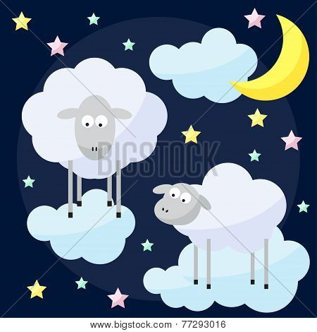 Funny Vector Background With Cartoon Moon, Clouds, Stars And Sheep, The Symbol Of The New Year Of Th