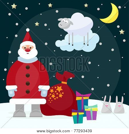 Funny Cartoon Picture For Use In Design On Winter Holiday Greeting Card With Santa, Funny Rabbits, B