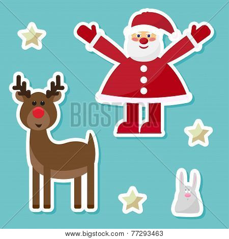 Funny Cartoon Winter Holidays Set With Cute Santa Claus,rabbit, Deer And Stars Painted On A Bright H