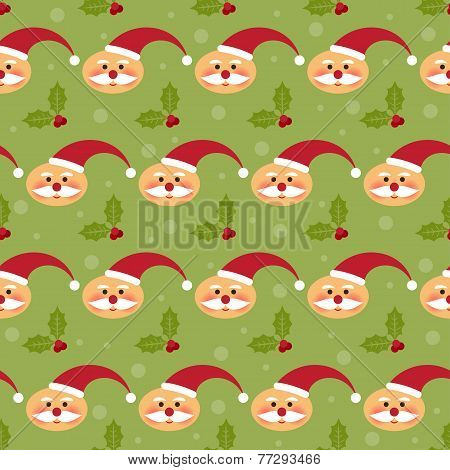 Winter Holidays Pattern Background With Funny Cartoon Santa And Branch Of Holly On The Bright Green