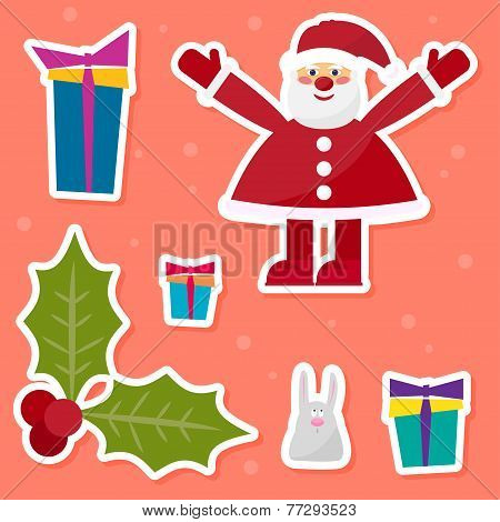 Funny Cartoon Winter Holidays Set With Cute Santa Claus,rabbit, Branch Of Holly And Gifts On The Red