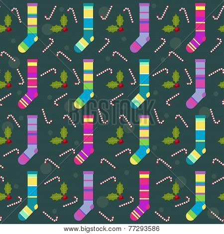 Winter Holidays Pattern Background With Colorful Baby Socks For Gifts From Santa Claus, Lollipops An