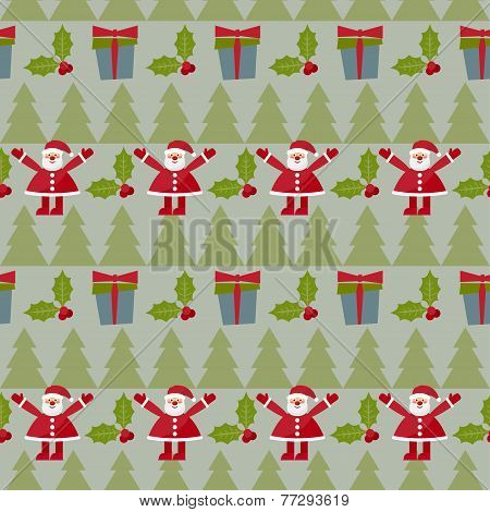 Winter Holidays Seamless Pattern Background With Green Fir, Branch Of Holly, Gifts And Funny Cartoon