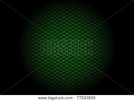 illustration - background of green laser grid in circle