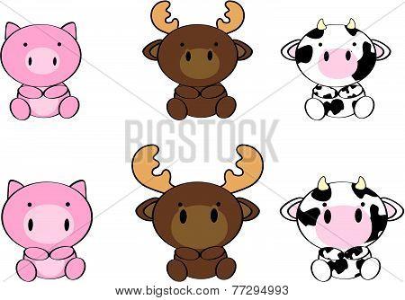 cute baby animals cartoon set3