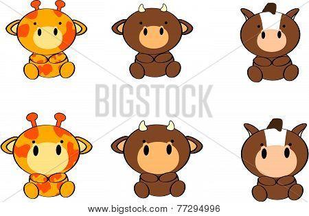 cute baby animals cartoon set2