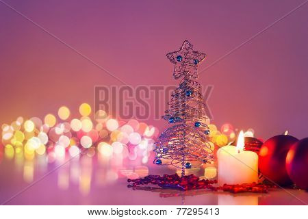 Christmas Tree And Candlelight .romantic New Year Night And Bokeh Background
