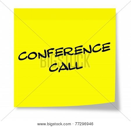 Conference Call Yellow Sticky Note