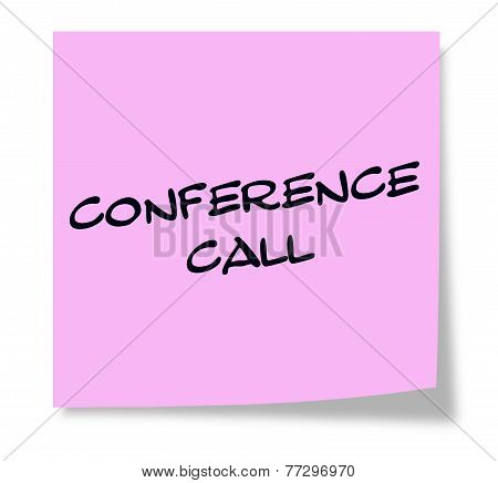 Conference Call Pink Sticky Note
