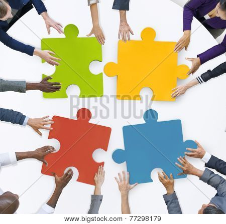 Teamwork Business Team Meeting Unity Jigsaw Puzzle Concept