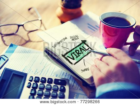 Viral Accounting Sharing Working at Home Writing Concept