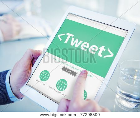 Digital Online Social Media Networking Tweet Sharing Concept