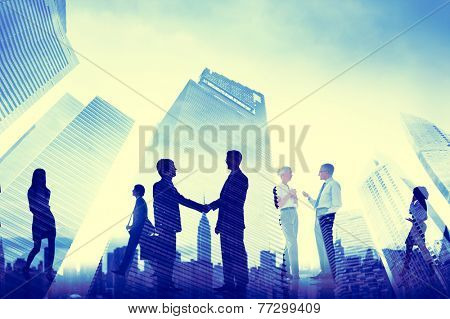 Business Handshake Corporate Meeting City Concept
