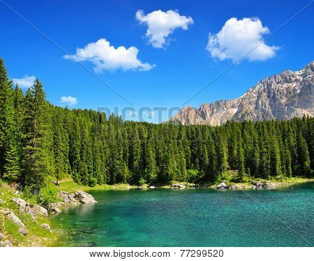 Carezza lake, Val di fassa, Dolomites, Alps, Italy