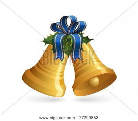 Christmas bells with blue bow and holly. Vector illustration