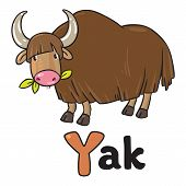 stock photo of yaks  - Children vector illustration of funny grazing wild yak - JPG