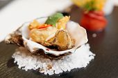 picture of oyster shell  - Tempura fried oyster in shell - JPG