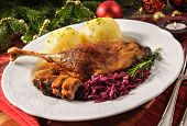 image of canard  - Crusty goose leg with braised red cabbage and dumplings - JPG
