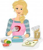 pic of lunch box  - Illustration Featuring a Woman Preparing a Healthy Boxed Lunch - JPG