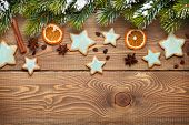 foto of view from space needle  - Christmas wooden background with snow fir tree - JPG