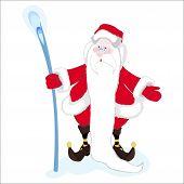 stock photo of long beard  - A hilarious magician Santa Claus with a stick long white beard - JPG