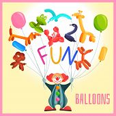 foto of circus clown  - Clown with funny balloon animals circus background vector illustration - JPG