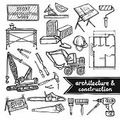 stock photo of dozer  - Architecture and construction sketch decorative icons set isolated vector illustration - JPG
