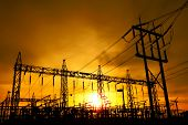 stock photo of substation  - Part of high voltage substation at sunset background - JPG