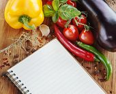 foto of condiment  - Food background with paper for notes - JPG