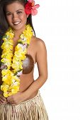 image of hula dancer  - Smiling hawaiian hula dancer girl wearing lei - JPG