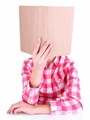 picture of short-story  - Girl reading book covering her face isolated on white - JPG