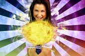 foto of fireball  - sexy schoolgirl making a fireball on a cosplay theme - JPG