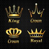 stock photo of crown  - Golden heraldry kings and queen royal crowns set on black background vector illustration - JPG