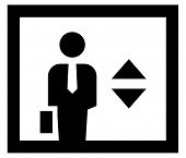 stock photo of elevators  - Businessman in elevator icon - JPG