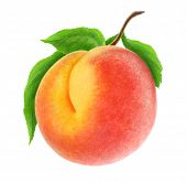 pic of peach  - Fresh peach with leaf isolated on white background - JPG