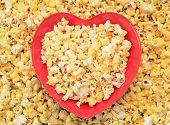 image of popcorn  - popcorn in heart sharp bowl for Valentine Day - JPG