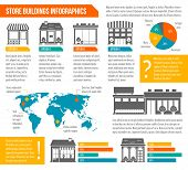 picture of local shop  - Store shop business buildings infographics set with world map and chart templates vector illustration - JPG