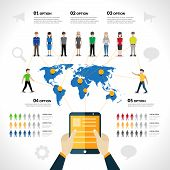 picture of avatar  - Social network infographics set with people avatars options and world map vector illustration - JPG