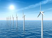 foto of offshore  - Computer generated 3D illustration with Offshore Wind Turbines - JPG