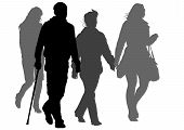 stock photo of lame  - Vector graphic disabled and women on a walk - JPG