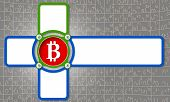 picture of bit coin  - four frame for any text with bit coin symbol - JPG