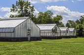 image of greenhouse  - A group of greenhouses on a Summer day in Central New Jersey - JPG