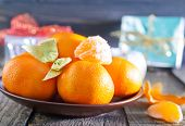 foto of tangerine-tree  - fresh tangerines and christmas decoration - JPG