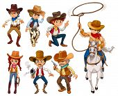 stock photo of cowboys  - Illustration of different poses of cowboys - JPG