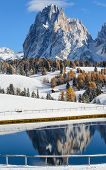 picture of south tyrol  - Reflection of the Langkofel  - JPG