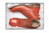image of shoe-box  - new red shoes in box with wrapping paper - JPG