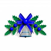 stock photo of blue-bell  - Vector illustration of Christmas garland with green spruce twigs blue ribbon silver bell and blue decorative balls - JPG